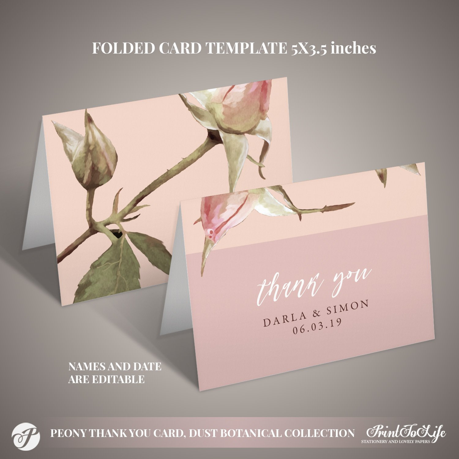 Thank You Card Template by Printolife