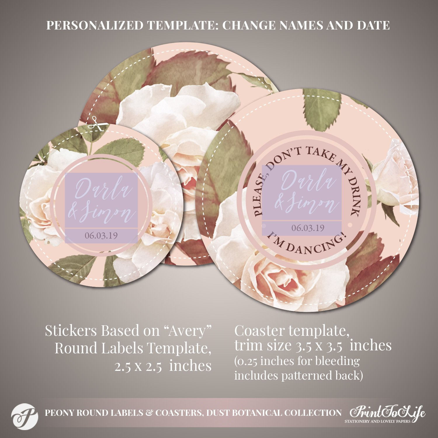 Peony Wedding Coasters by Printolife