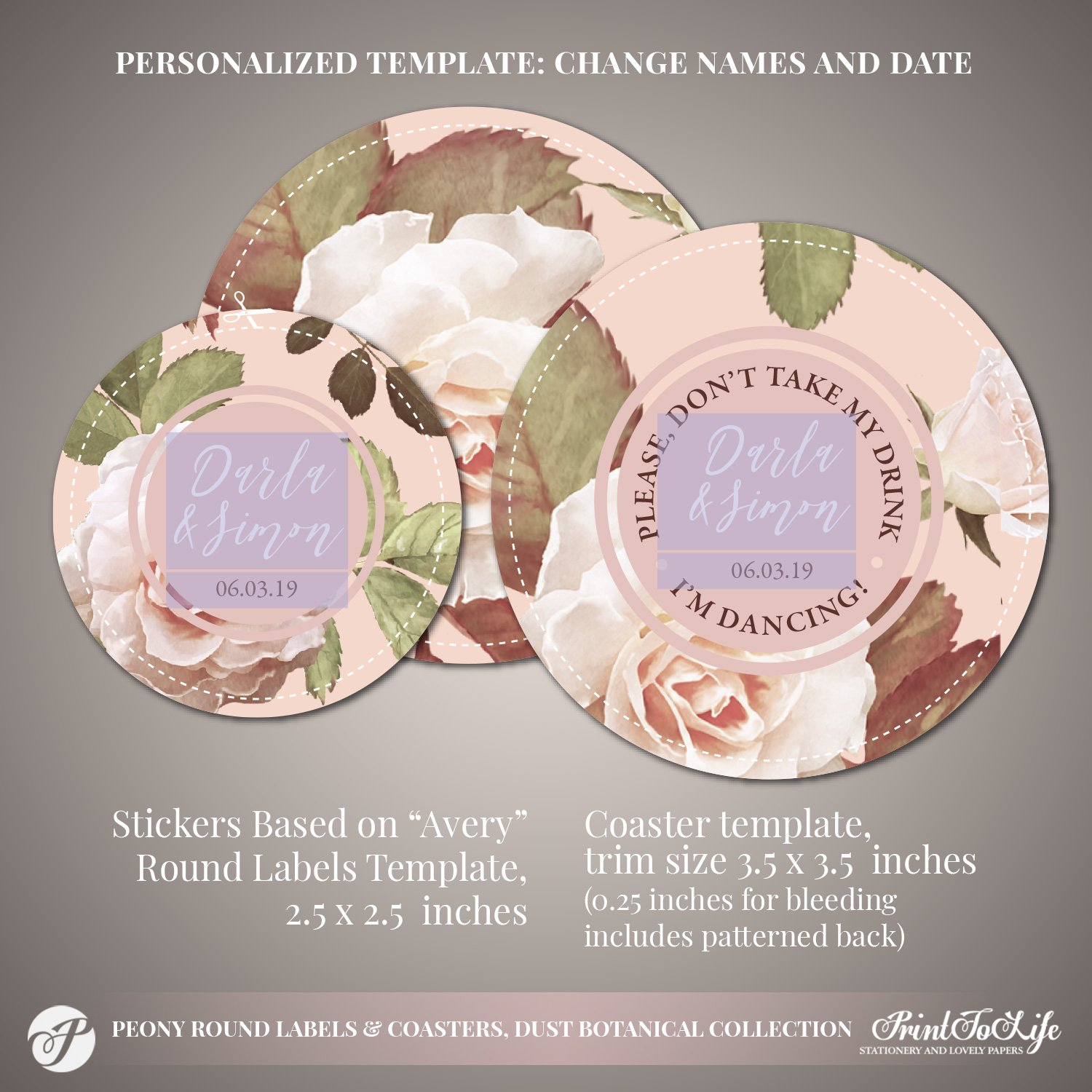 Peony Wedding Round Coasters by Printolife