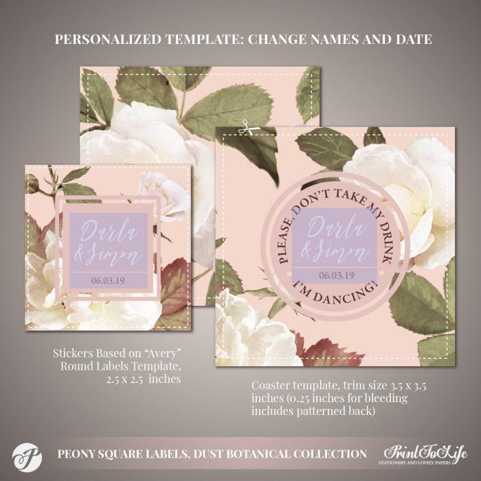 Peony Wedding Square Coasters by Printolife