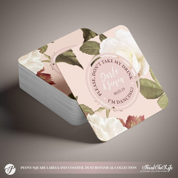 Peony Wedding Square Coasters by Printolife