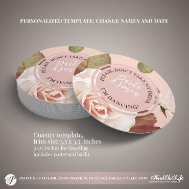Peony Wedding Coasters by Printolife