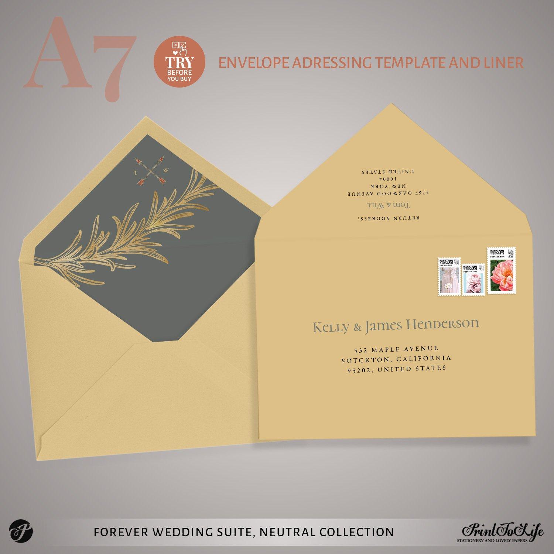 Envelope addressing template Forever Wedding Suite by Printolife
