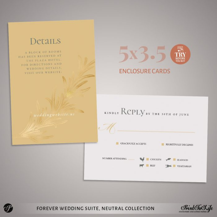 RSVP and Details Card Forever Wedding Suite by Printolife