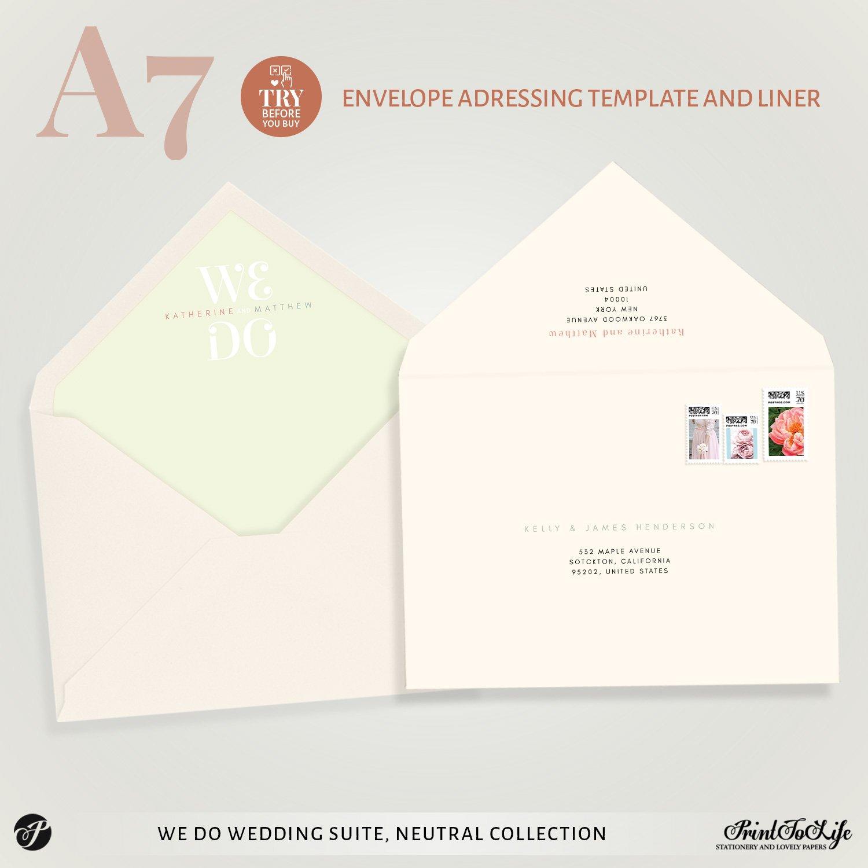 Envelope addressing template We Do Wedding Invitation Set by Printolife