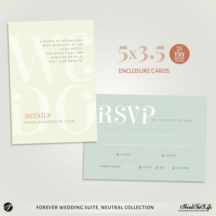 RSVP and Details card template We Do Wedding Invitation Set by Printolife