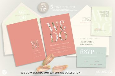 Printable We Do Wedding Invitation Set by Printolife