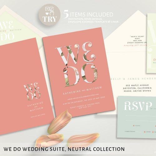 Printable We Do Wedding Invitation Set by Printolife