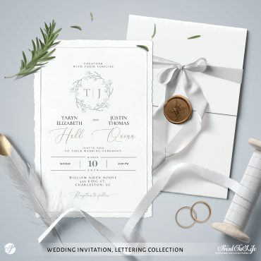 greenery lettering monogrammed wedding suite