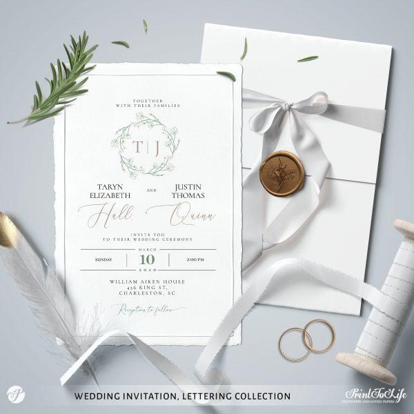 greenery lettering monogrammed wedding suite
