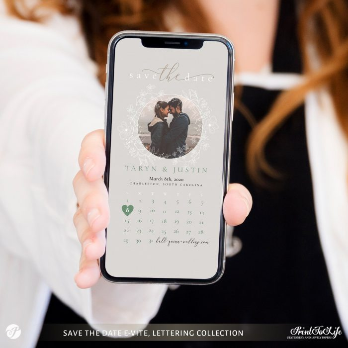 Save the Date evite | Greenery & lettering | Digital Announcement | Save the Date Calendar 1