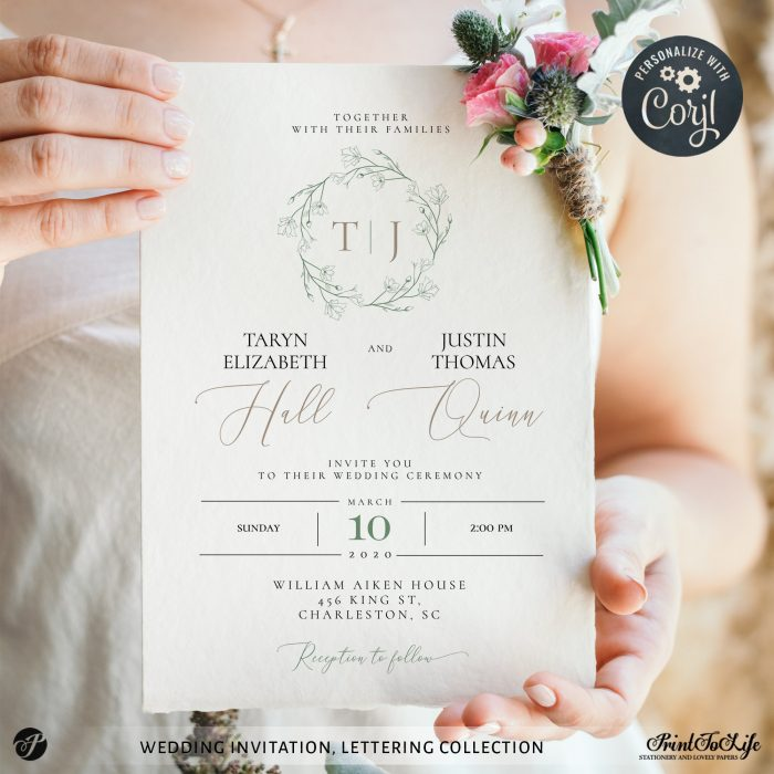 Greenery & Lettering Monogrammed Wedding Suite | 18 Templates | Green sage | Corjl 1