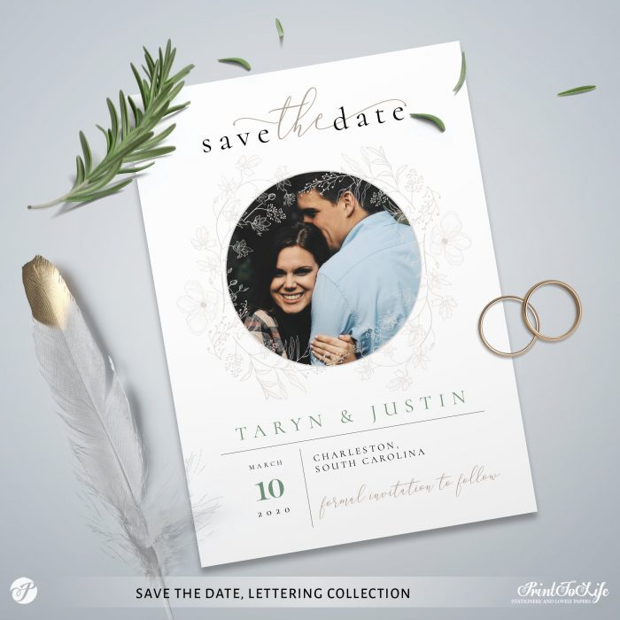 Save the Date invitation | Greenery & lettering destination wedding | Printable personalized template 1