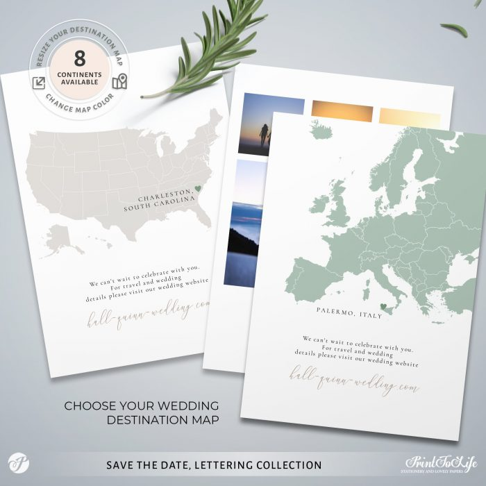 Save the Date invitation | Greenery & lettering destination wedding | Printable personalized template 3