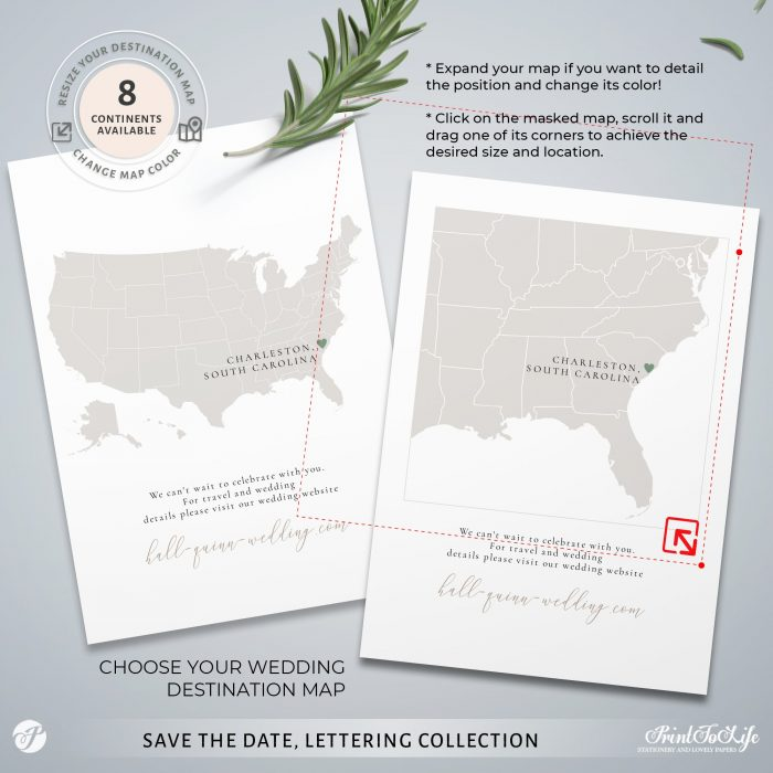Save the Date invitation | Greenery & lettering destination wedding | Printable personalized template 4