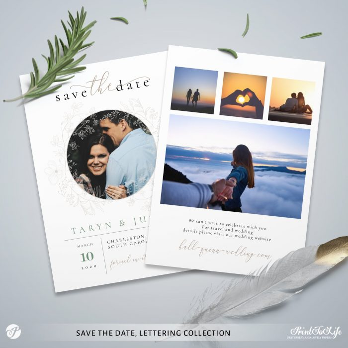 Save the Date invitation | Greenery & lettering destination wedding | Printable personalized template 2