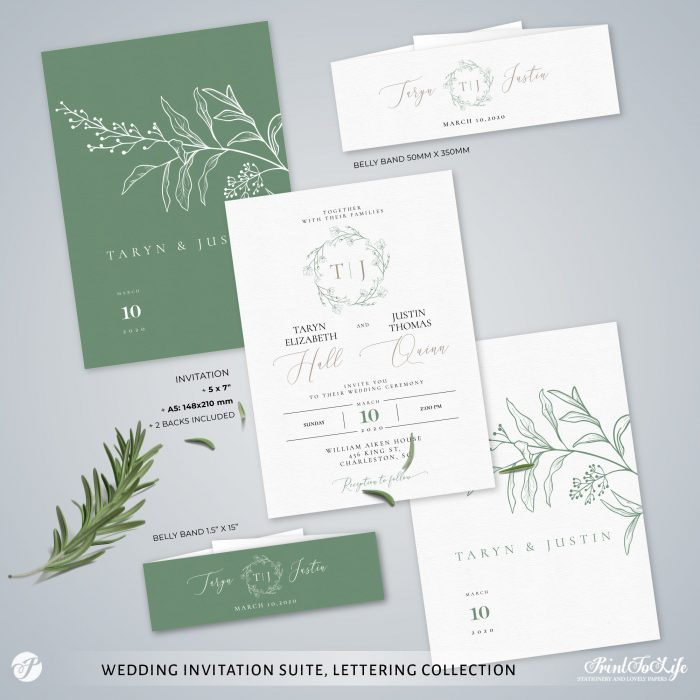 Greenery & Lettering Monogrammed Wedding Suite | 18 Templates | Green sage | Corjl 3