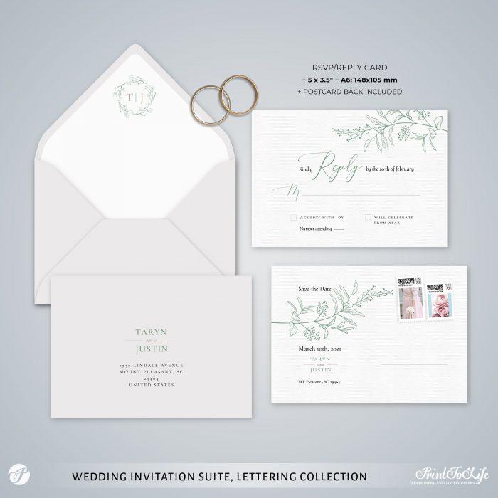 Greenery & Lettering Monogrammed Wedding Suite   18 Templates   Green sage   Corjl 5