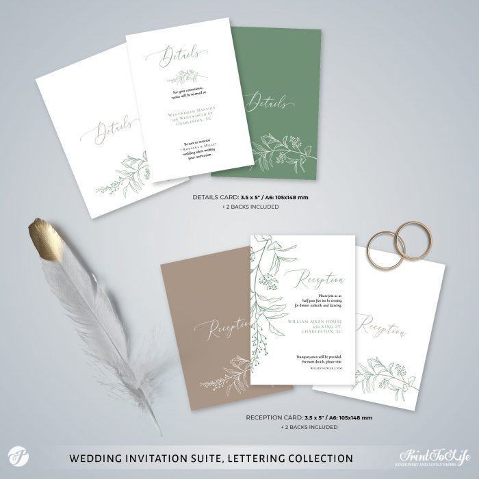 Greenery & Lettering Monogrammed Wedding Suite | 18 Templates | Green sage | Corjl 4