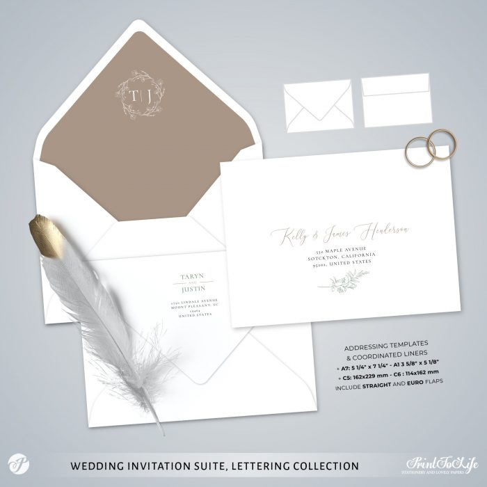 Greenery & Lettering Monogrammed Wedding Suite | 18 Templates | Green sage | Corjl 6