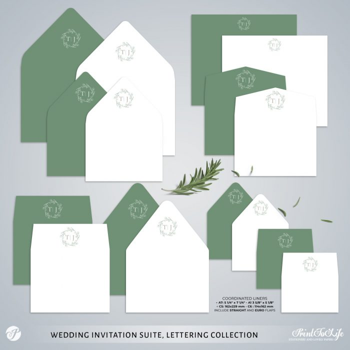 Greenery & Lettering Monogrammed Wedding Suite | 18 Templates | Green sage | Corjl 7