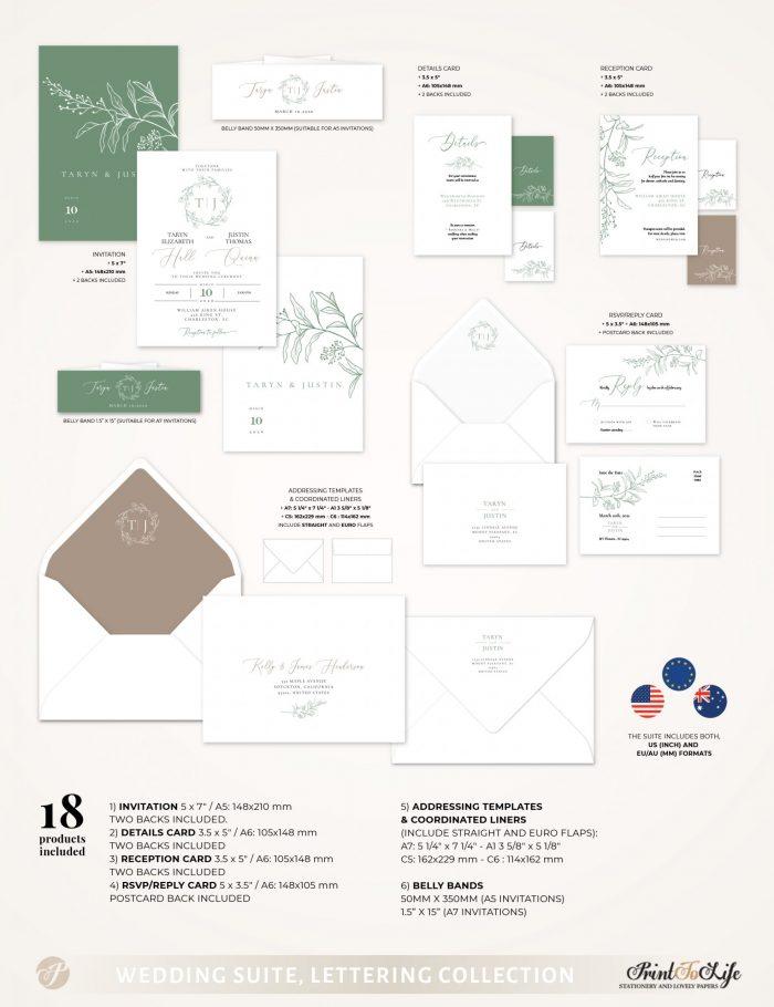 Greenery & Lettering Monogrammed Wedding Suite   18 Templates   Green sage   Corjl 2