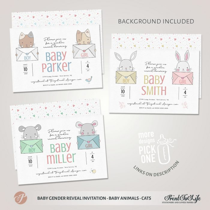 Baby gender reveals Invitation | He or She invite | Boy or Girl Card | Baby Cats 1