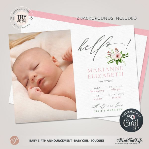 editable newborn card