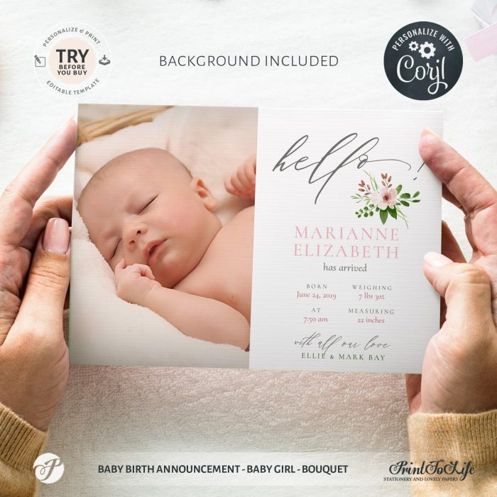 Editable Newborn Card | Baby Birth Announcement Template | Pink bouquet | Editable Baby Girl Cards 1