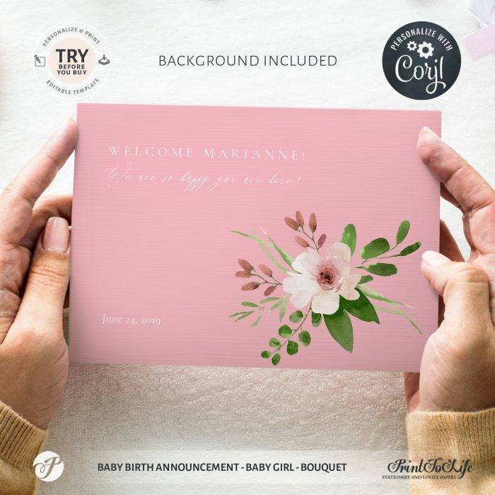 Editable Newborn Card | Baby Birth Announcement Template | Pink bouquet | Editable Baby Girl Cards 4