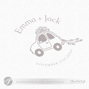 Premade logo design, just married logo, custom stamp logo, wedding car, boho wedding 1