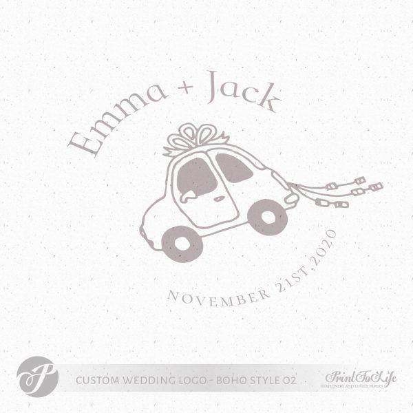Premade logo design, just married logo, custom stamp logo, wedding car, boho wedding 1