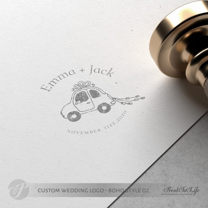 Premade logo design, just married logo, custom stamp logo, wedding car, boho wedding 4