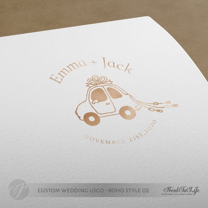 Premade logo design, just married logo, custom stamp logo, wedding car, boho wedding 2