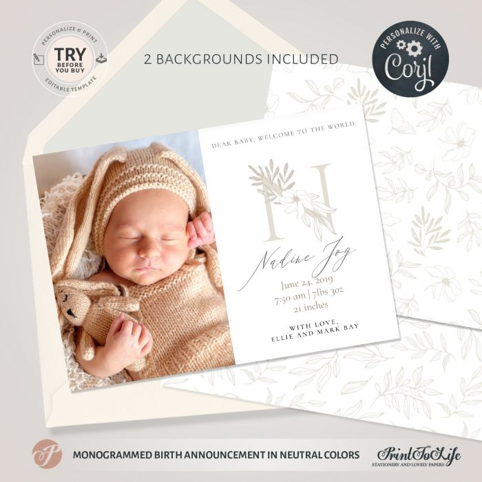 neutral birth announcement template