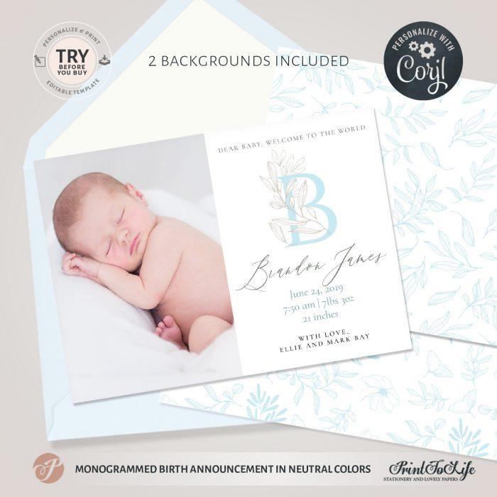 Monogrammed birth announcement   Newborn Announcement Template   Blue floral   Corjl 1