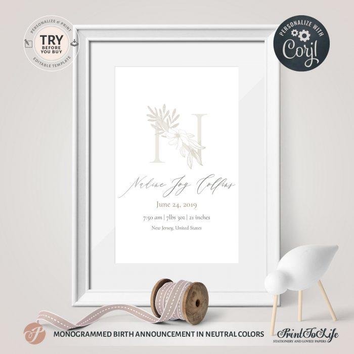 Nursery Monogram Birth Details | Monogrammed birth announcement | Neutral Newborn Wall Art | Editable Birth Details | Corjl 1