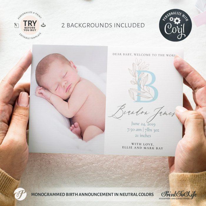 Monogrammed birth announcement