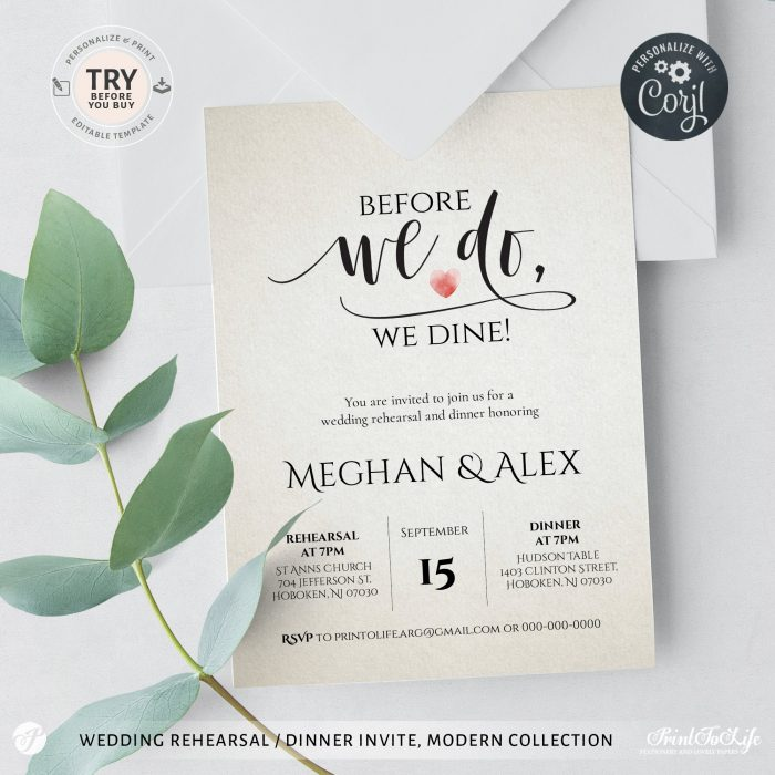 Before we do we dine invitation template, Edit with Corjl 1