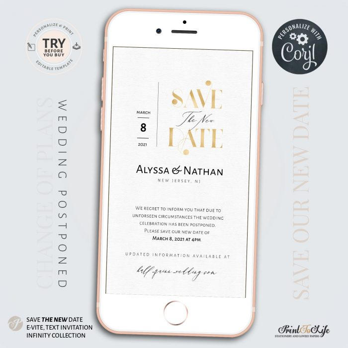 Wedding Date Change | Wedding Postponed Announcement Template | Save the New Date | Mobile invitation 1