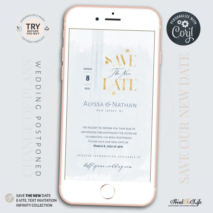 Wedding Date Change | Wedding Postponed Announcement Template | Save the New Date | Mobile invitation 3