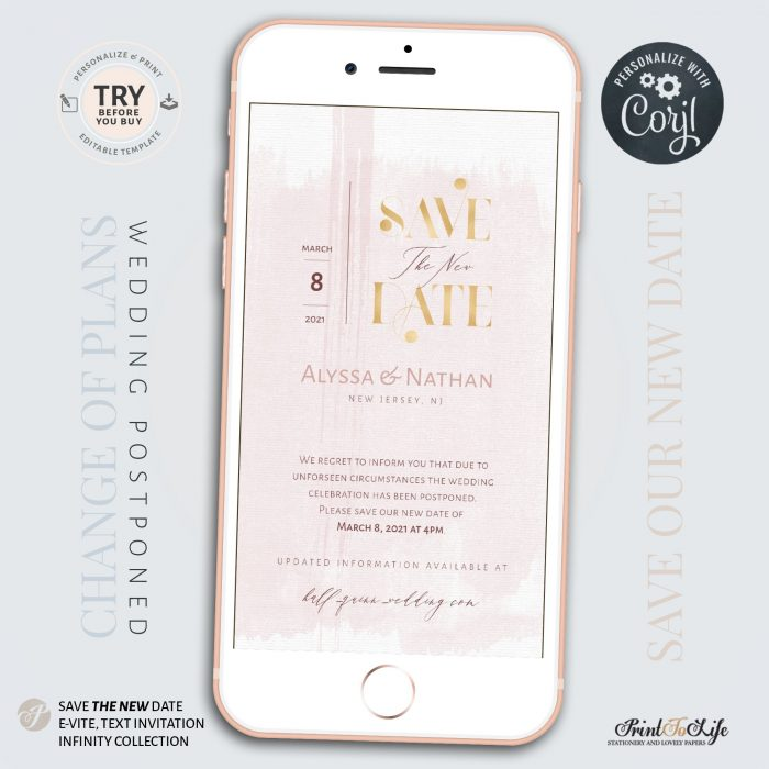 Wedding Date Change | Wedding Postponed Announcement Template | Save the New Date | Mobile invitation 2