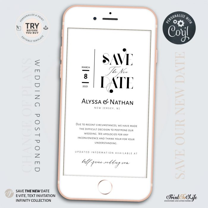 Save the New Date | Wedding Postponed Announcement | Wedding Date Change | Mobile invitation | Edit with Corjl 1