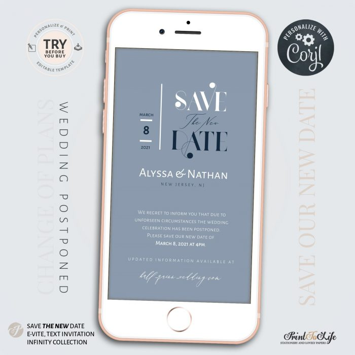 Save the New Date   Wedding Postponed Announcement   Wedding Date Change   Mobile invitation   Edit with Corjl 3