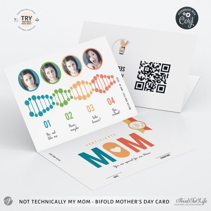 Personalized Mother's Day Step-Mom Card | Not technically my mom, but | QR code message 1