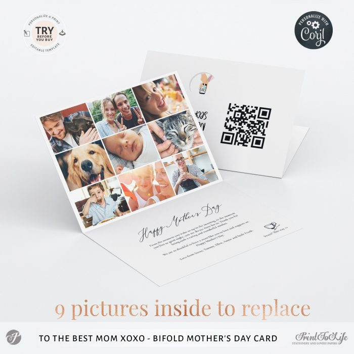 Personalized Mothers Day Card | Bifold Mum Photo card | Printable Photo Template | 4 Inside Layouts +  QR code message 3