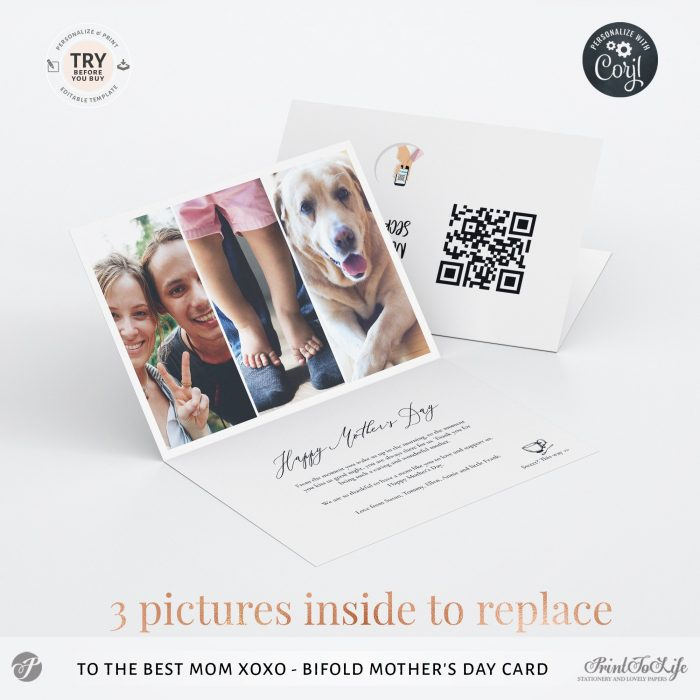 Personalized Mothers Day Card | Bifold Mum Photo card | Printable Photo Template | 4 Inside Layouts +  QR code message 1