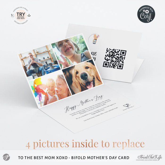 Personalized Mothers Day Card | Bifold Mum Photo card | Printable Photo Template | 4 Inside Layouts +  QR code message 2