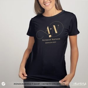 Monogrammed Wedding t-shirt | Infinity Collection | Gold & Silver foil logo 2