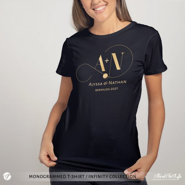 Monogrammed Wedding t-shirt   Infinity Collection   Gold & Silver foil logo 1